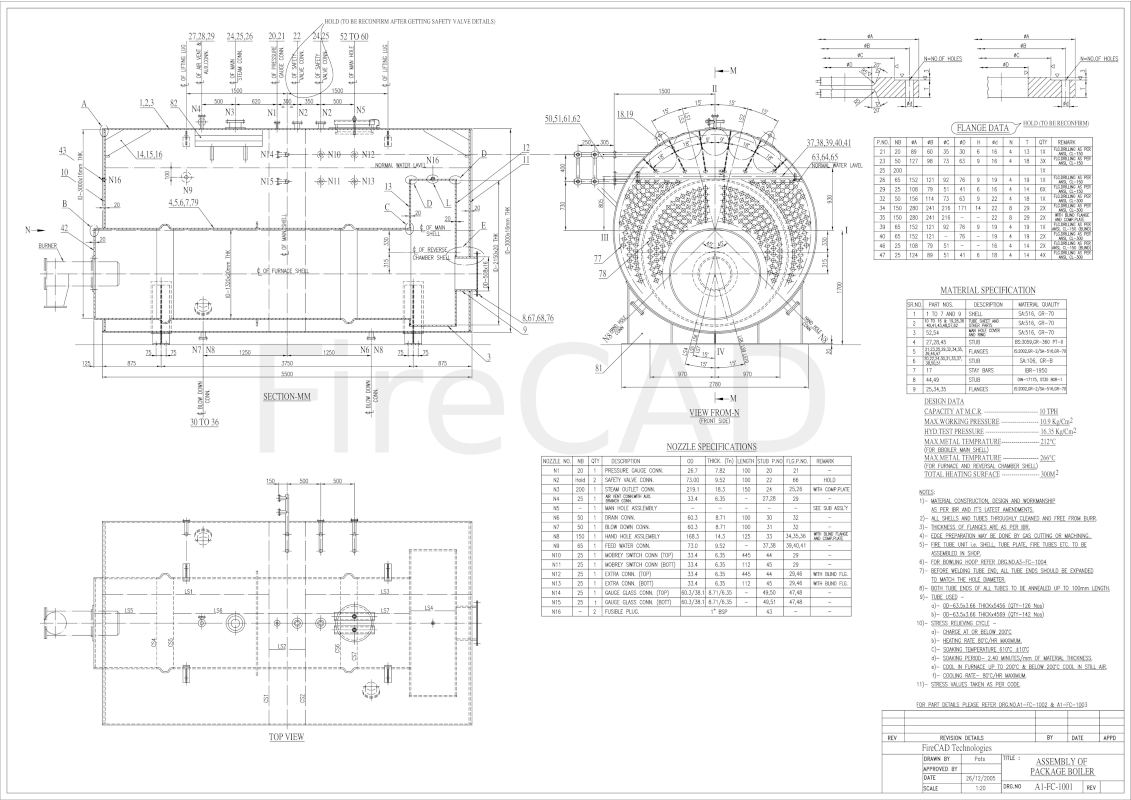 Smoke Tube Package Boiler drawing 10 TPH